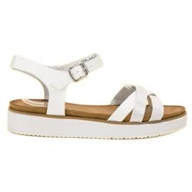 Bestelle białe Sandały Z Brokatową Podeszwą