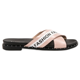 SHELOVET Różowe Klapki Fashion