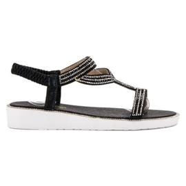 SHELOVET czarne Wsuwane Sandały Na Kotrnie