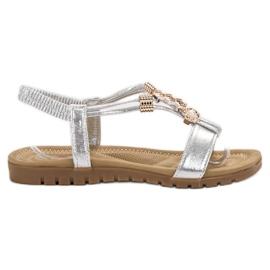 Top Shoes szare Srebrne Zdobione Sandały