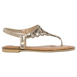 SHELOVET żółte Sandały Japonki Z Kryształkami