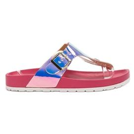 Ideal Shoes różowe Japonki Z Efektem Holo