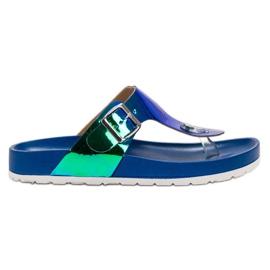 Ideal Shoes niebieskie Japonki Z Efektem Holo