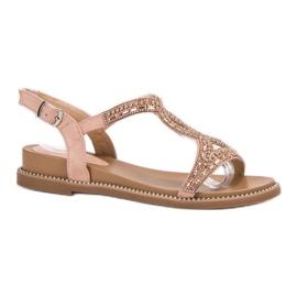 Bello Star różowe Zamszowe Sandały Z Kryształkami