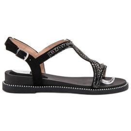 Bello Star czarne Zamszowe Sandały Z Kryształkami