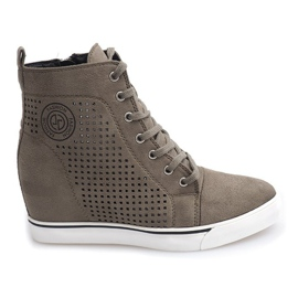 Ażurowe Sneakersy XW36236 Oliwkowy