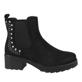 Kayla Shoes Czarne ocieplane botki na obcasie 88048