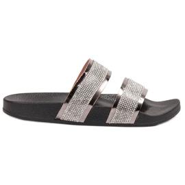 Ideal Shoes szare Klapki Damskie Z Cyrkoniami