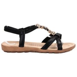SHELOVET czarne Płaskie Sandałki Z Ozdobami