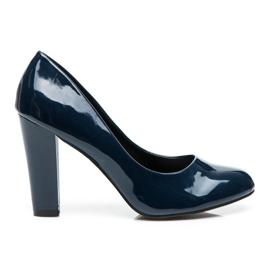 Sweet Shoes niebieskie Lakierowane Czółenka Na Słupku