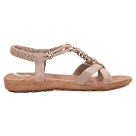 SHELOVET brązowe Beżowe Wsuwane Sandały