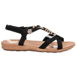 SHELOVET Czarne Wsuwane Sandały