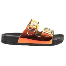 Ideal Shoes żółte Klapki Ze Sprzączką Holo