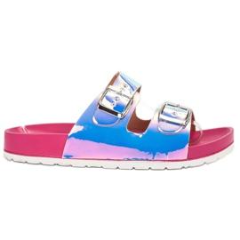 Ideal Shoes szare Klapki Ze Sprzączką Holo