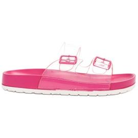 Ideal Shoes Transparentne Klapki Se Sprzączką różowe