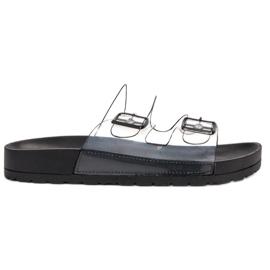 Ideal Shoes czarne Transparentne Klapki Se Sprzączką
