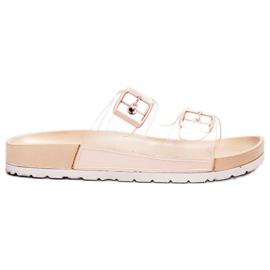 Ideal Shoes brązowe Transparentne Klapki Se Sprzączką