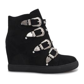 Czarne zamszowe sneakersy z klamrami Maya