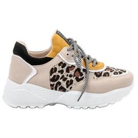 SHELOVET brązowe Modne Sneakersy Leopard Print