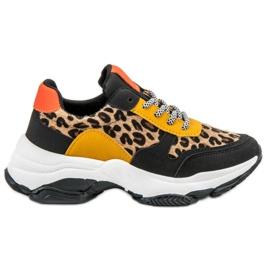 SHELOVET wielokolorowe Kolorowe Sneakersy Leopard Print