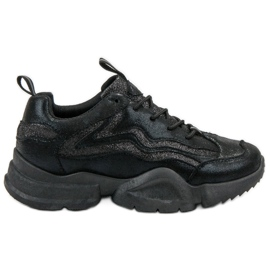 SHELOVET czarne Brokatowe Sneakersy