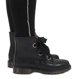 Kayla Shoes Czarne sznurowane botki PF276