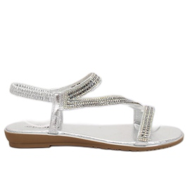 Sandałki asymetryczne srebrne KM-33 Silver szare