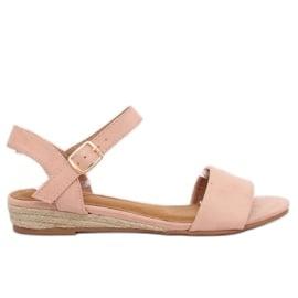 Różowe Sandałki espadryle różówe 9R73 Pink