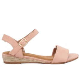 Sandałki espadryle różówe 9R73 Pink różowe