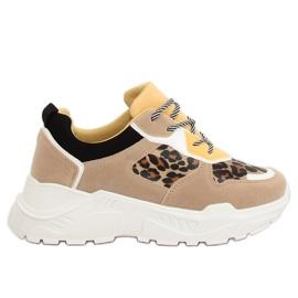 Brązowe Buty sportowe beżowe LV88P Leopard