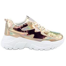 SHELOVET żółte Złote Sneakersy Z Cekinami