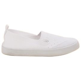 SHELOVET białe Tekstylne Slipony