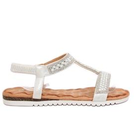 Sandałki damskie srebrne HT-67 Silver szare