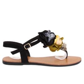 Sandałki japonki z kwiatami czarne L518 Black