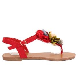 Sandałki japonki z kwiatami czerwone L518 Red
