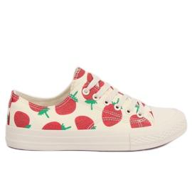 Brązowe Trampki strawberry beżowe XL-21 Beige