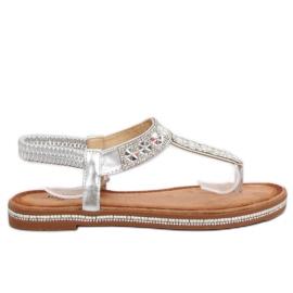 Sandałki japonki srebrne ZY163 Silver szare