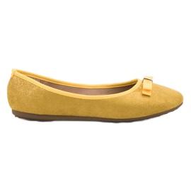 GUAPISSIMA żółte Baleriny Z Brokatem