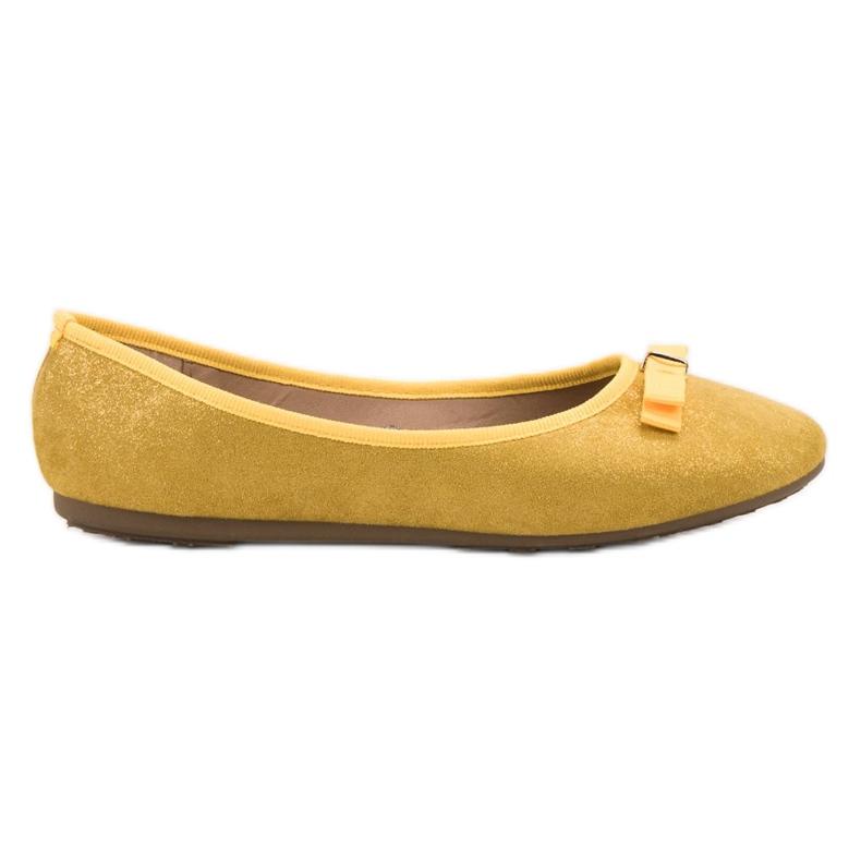 GUAPISSIMA Baleriny Z Brokatem żółte