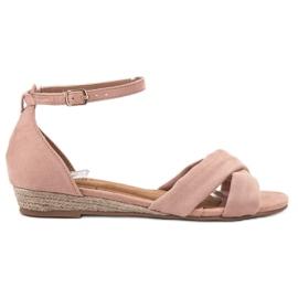 Clowse różowe Zamszowe Sandały