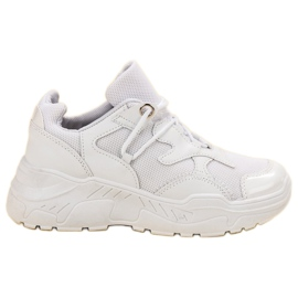 Small Swan białe Sznurowane Sneakersy
