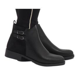 Ideal Shoes Czarne eleganckie botki C-7200