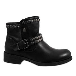 Marquiiz Czarne ozdobione botki HUQ-008