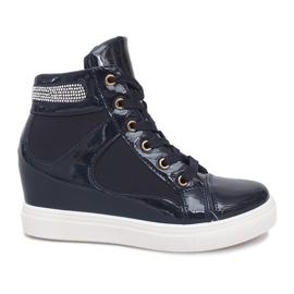 Granatowe Sneakersy Na Koturnie A-35 Granatowy