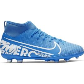 Buty piłkarskie Nike Mercurial Superfly 7 Club FG/MG Jr AT8150-414 niebieskie niebieskie