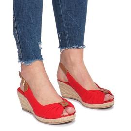 Czerwone sandały na koturnie espadryle Zoe
