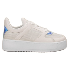 Ideal Shoes białe Sneakersy Z Brokatem