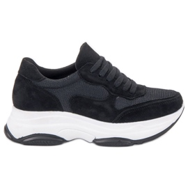 Ideal Shoes Lekkie Czarne Sneakersy