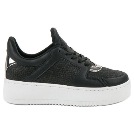 Ideal Shoes Sneakersy Z Brokatem czarne