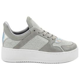 Ideal Shoes szare Sneakersy Z Brokatem